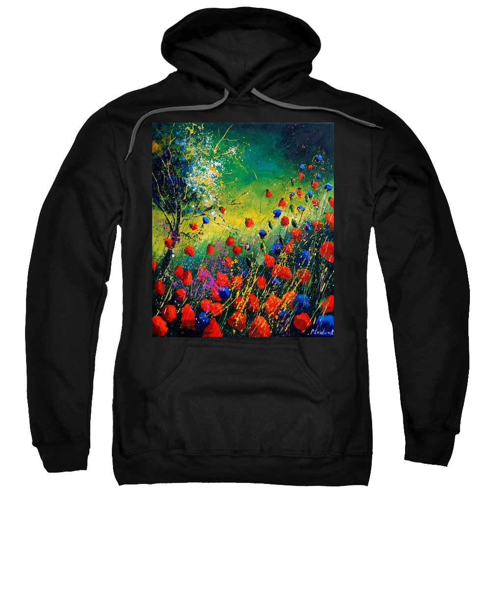 Flowers Sweatshirt featuring the painting Red And Blue Poppies by Pol Ledent