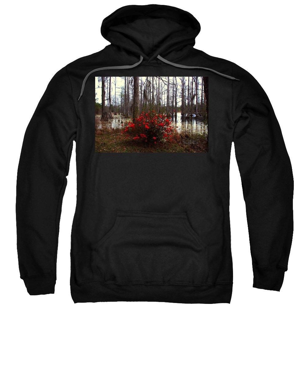 Azaleas Sweatshirt featuring the photograph Red Azaleas In The Swamp by Susanne Van Hulst