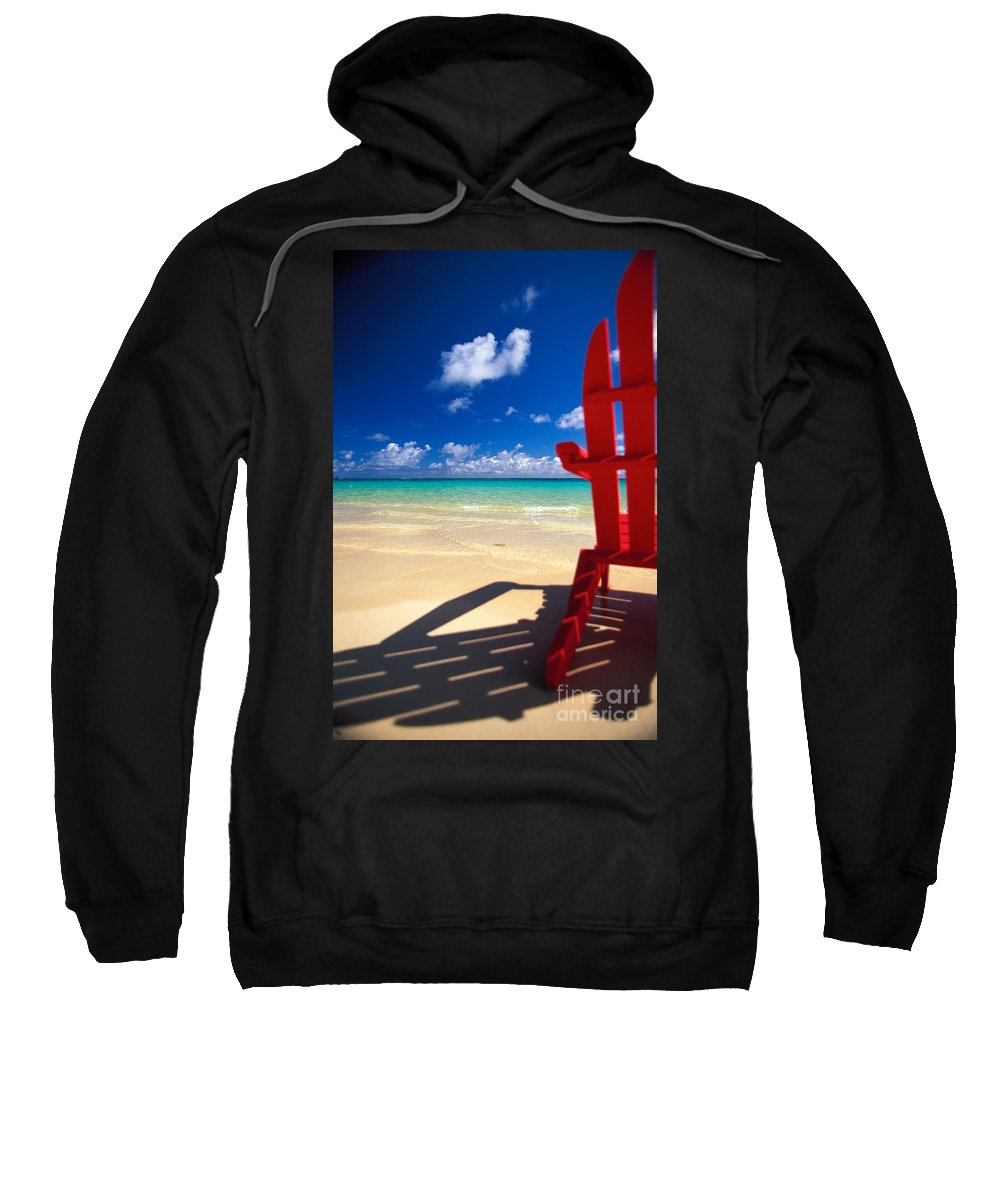 Afternoon Sweatshirt featuring the photograph Red Beach Chair by Dana Edmunds - Printscapes