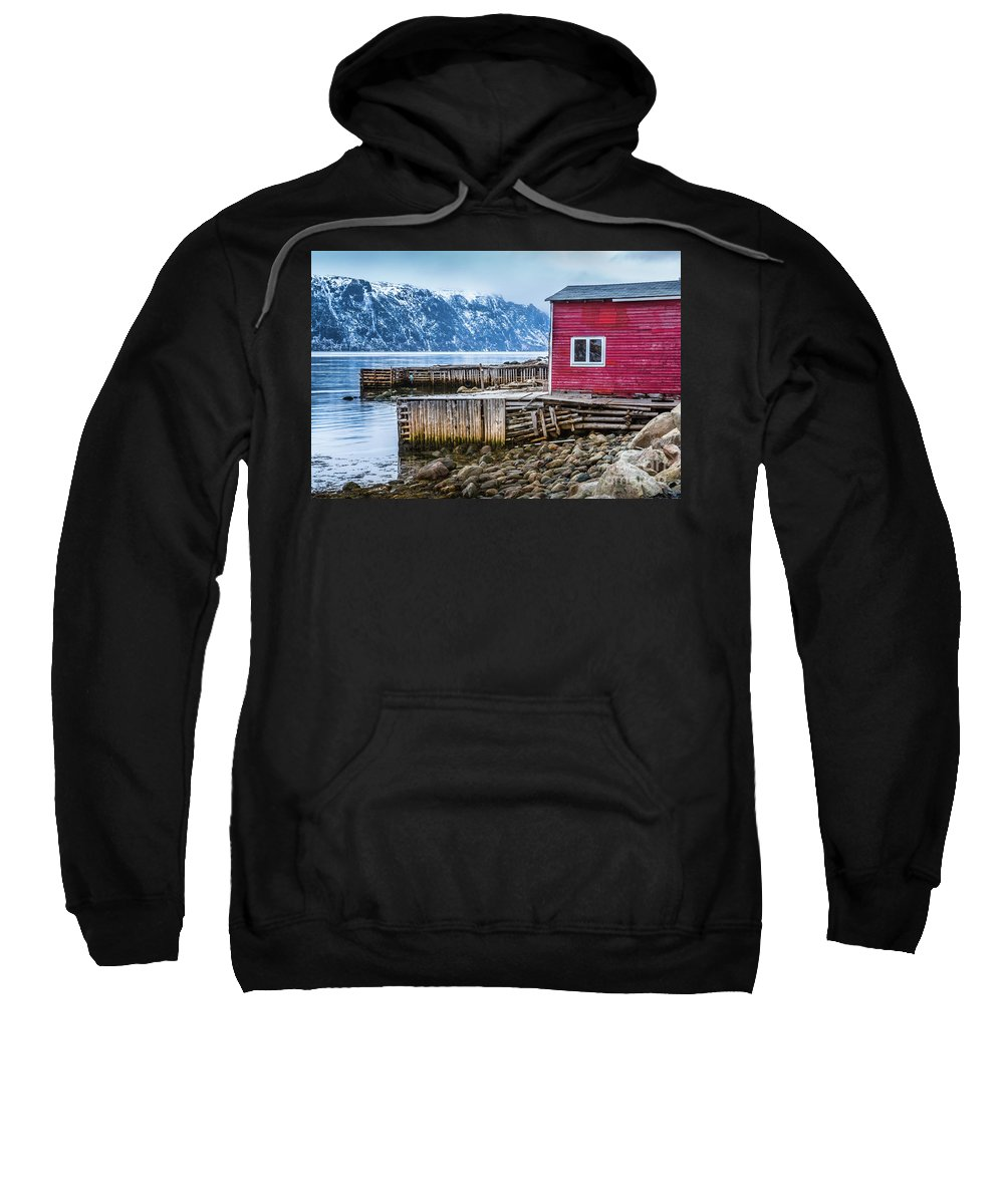 Red Sweatshirt featuring the photograph Red Boathouse In Norris Point, Newfoundland by Mike Organ