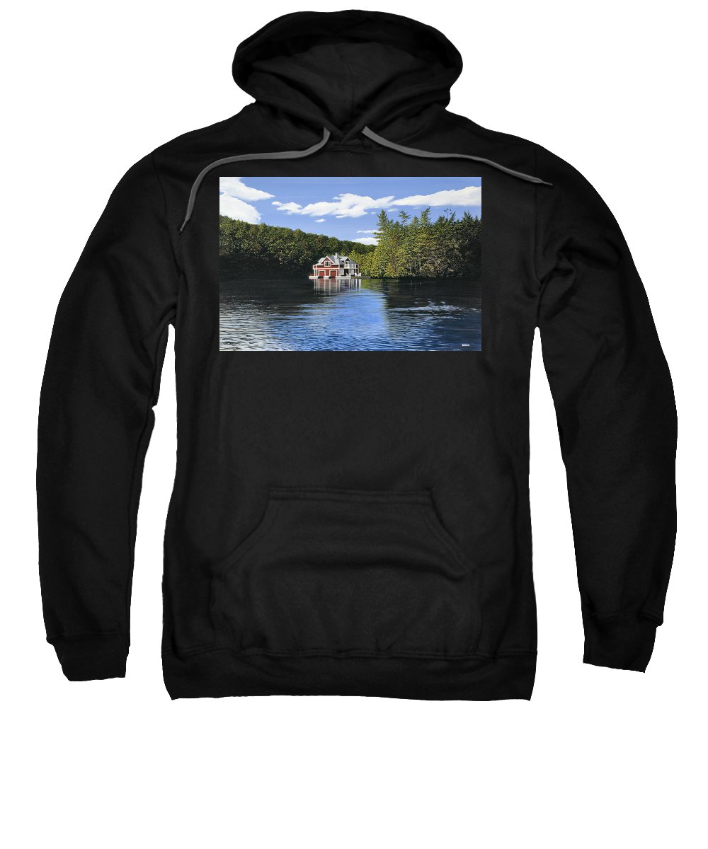 Landscapes Sweatshirt featuring the painting Red Boathouse by Kenneth M Kirsch