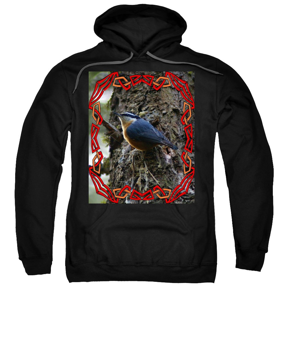 Birds Sweatshirt featuring the photograph Red Breasted Nuthatch 2 by Ben Upham III