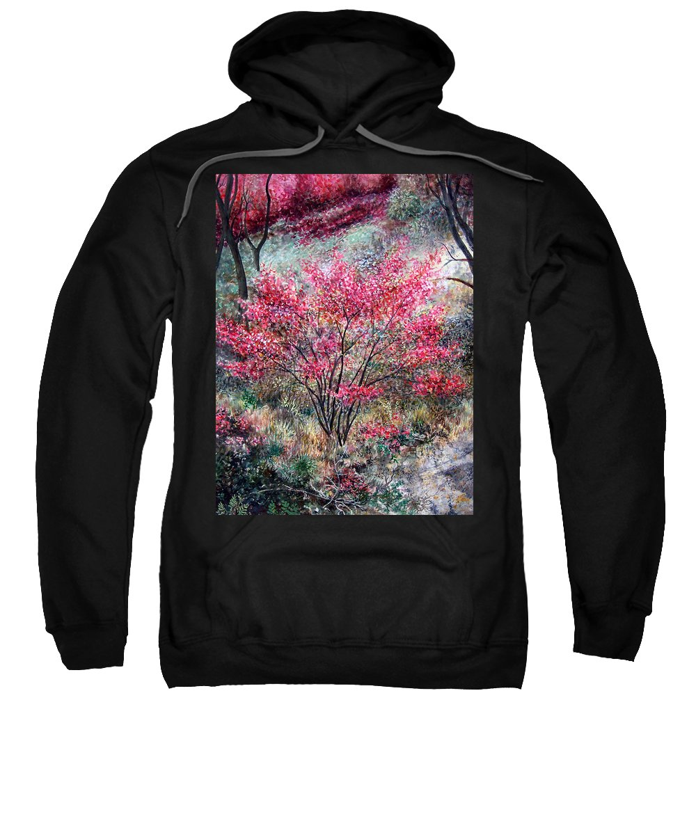 Landscape Sweatshirt featuring the painting Red Bush by Valerie Meotti