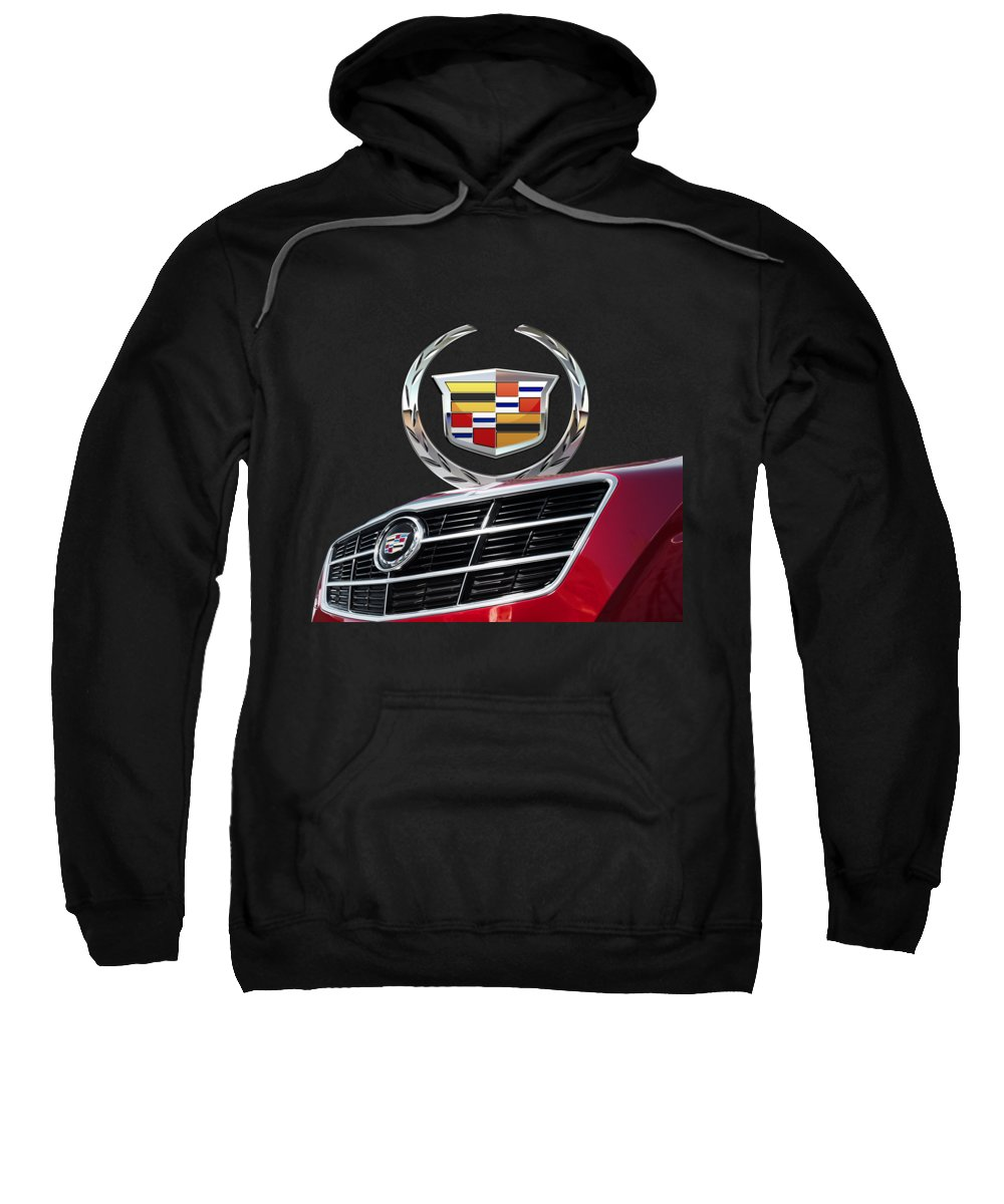 'auto Badges' By Serge Averbukh Sweatshirt featuring the photograph Red Cadillac C T S - Front Grill Ornament And 3d Badge On Black by Serge Averbukh