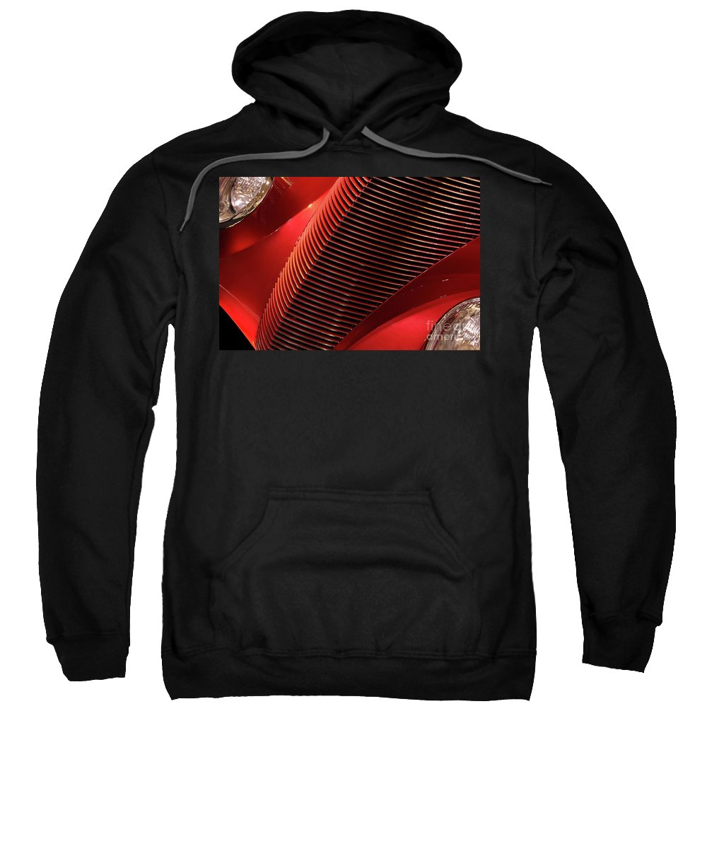 Car Sweatshirt featuring the photograph Red Classic Car Details by Oleksiy Maksymenko