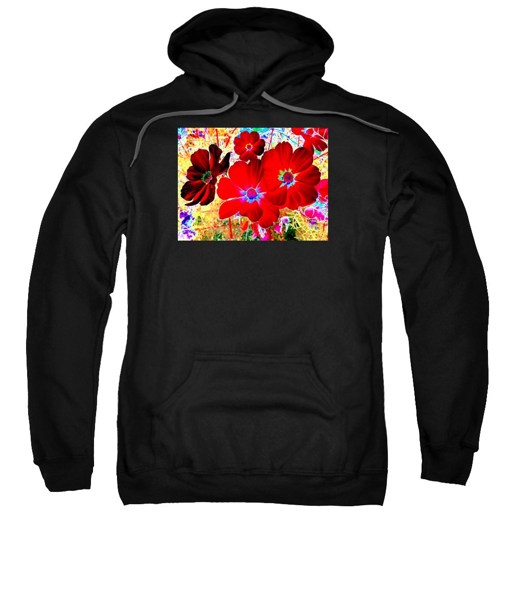 Red Cosmos Sweatshirt featuring the digital art Red Cosmos by Will Borden