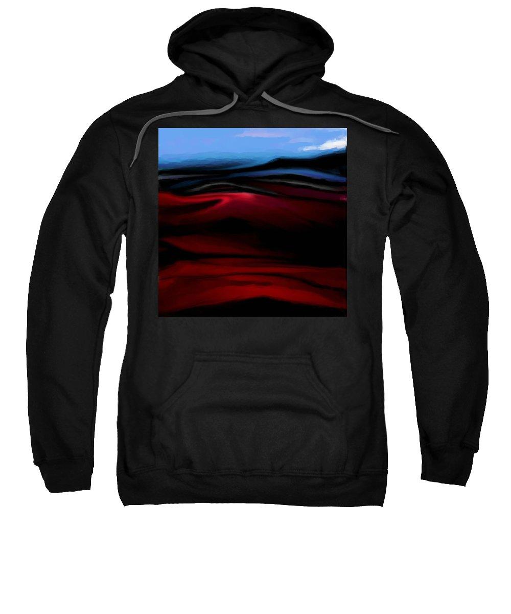 Digital Painting Sweatshirt featuring the digital art Red Dunes by David Lane