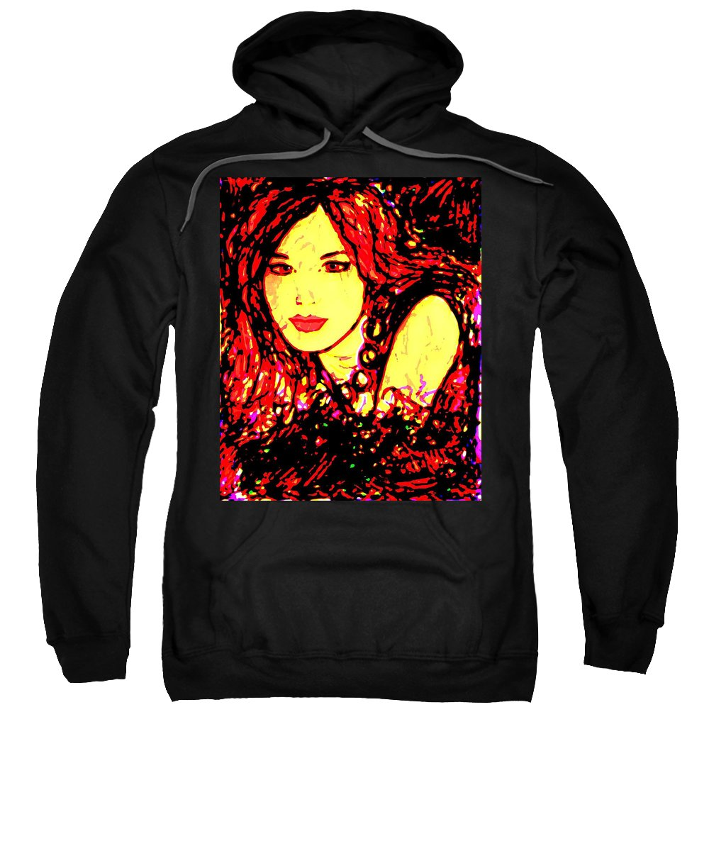 Woman Sweatshirt featuring the painting Red Flirt by Natalie Holland