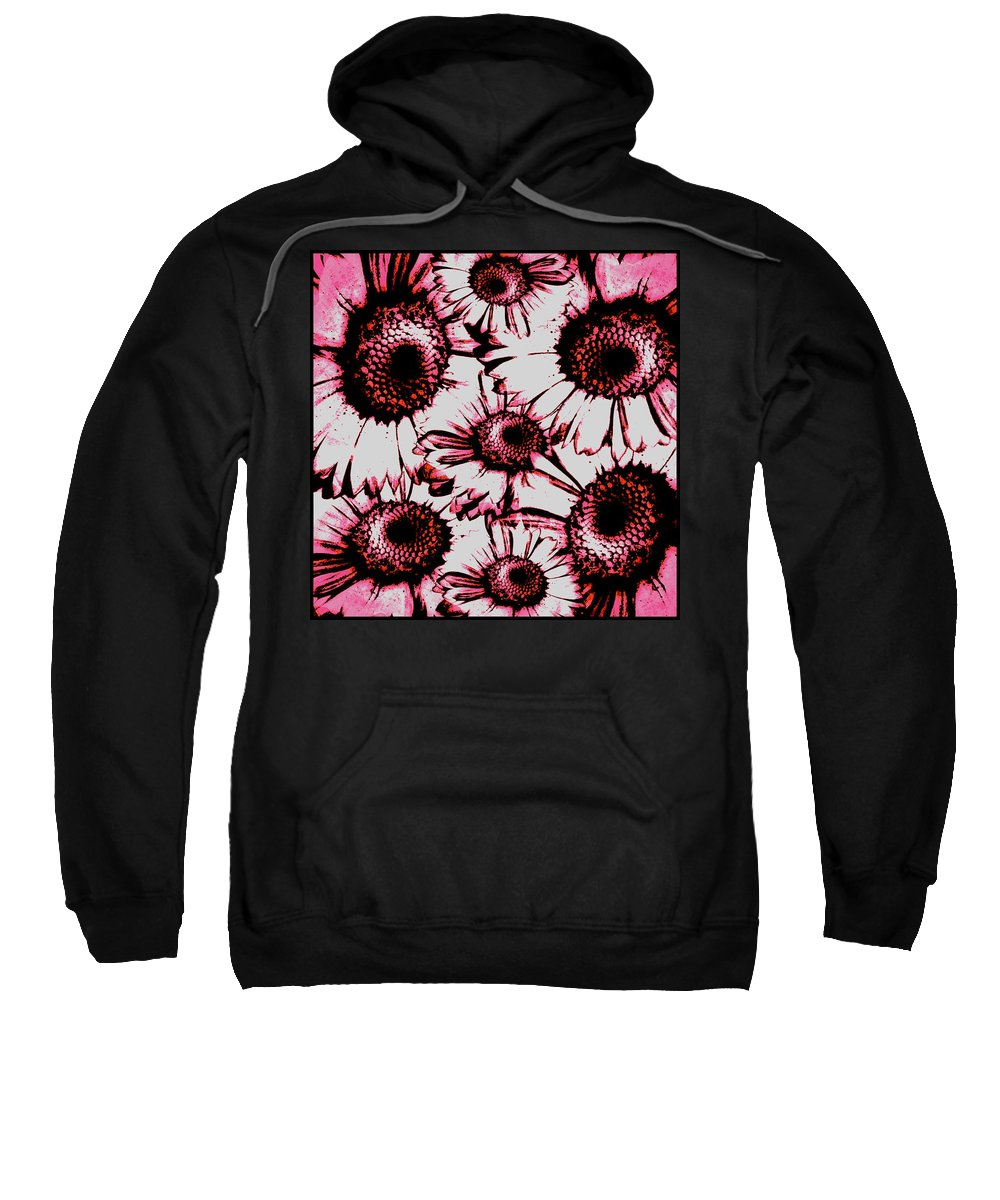 Decor Sweatshirt featuring the digital art Red Floral by Randolph Ping