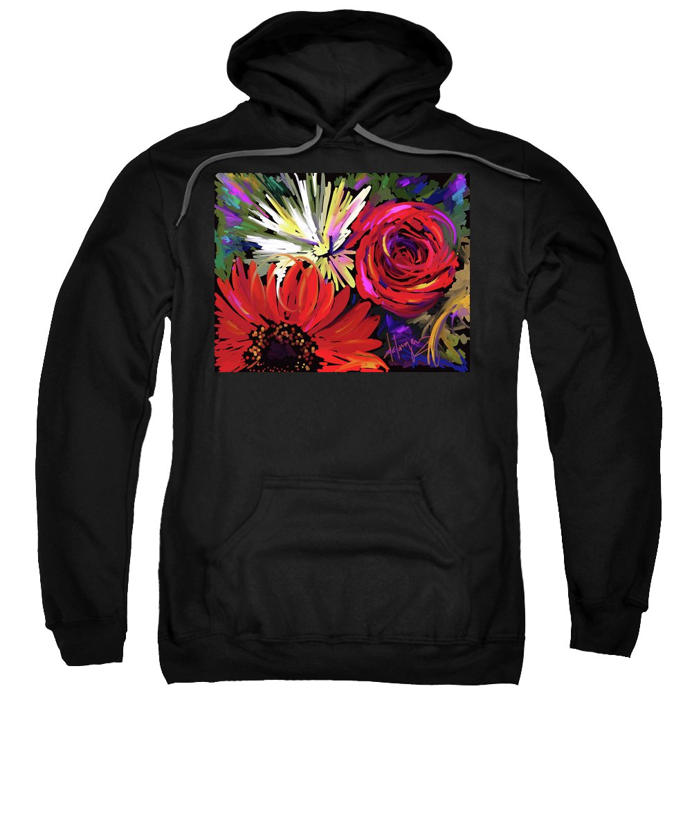 Red Sweatshirt featuring the painting Red Flowers by DC Langer