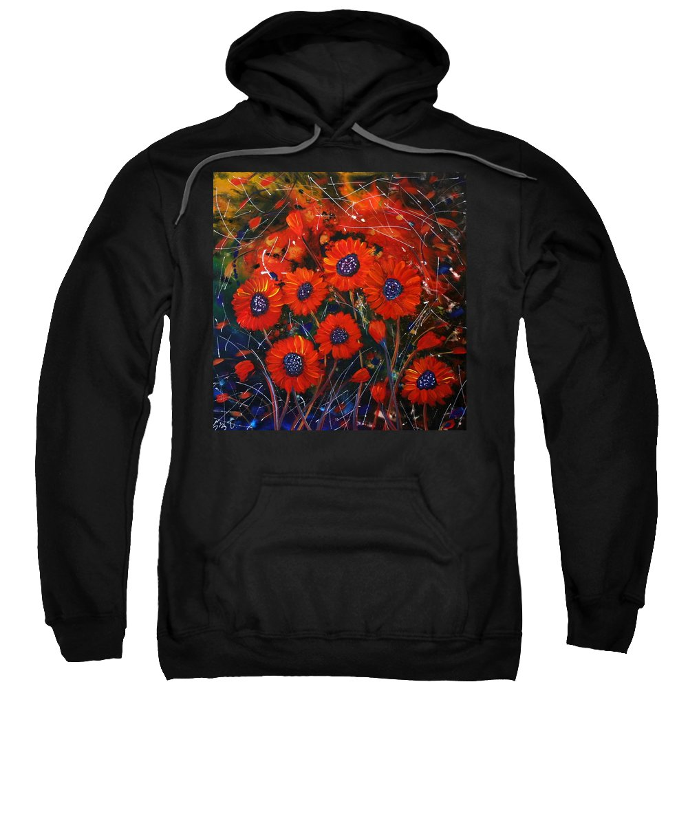 Flowers Sweatshirt featuring the painting Red Flowers In The Night by Luiza Vizoli
