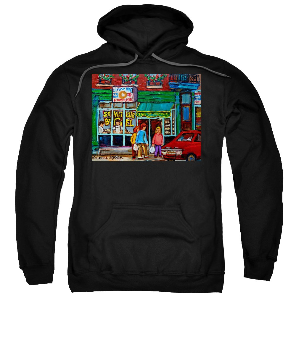 St Sweatshirt featuring the painting Red Geraniums And Bagels by Carole Spandau