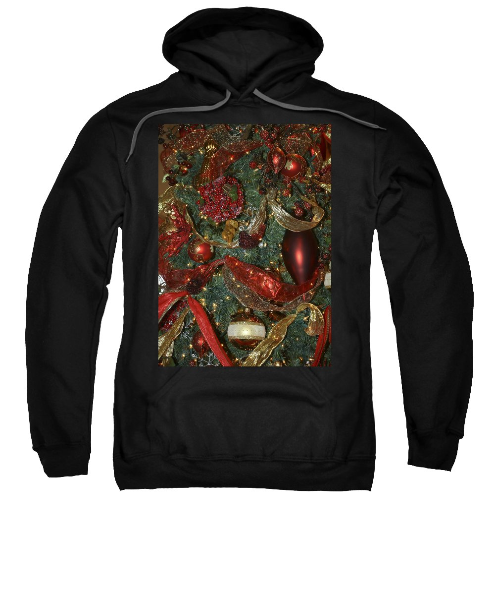 Christmas Sweatshirt featuring the photograph Red Gold Tree No 3 Fashions For Evergreens Event Hotel Roanoke 2009 by Teresa Mucha