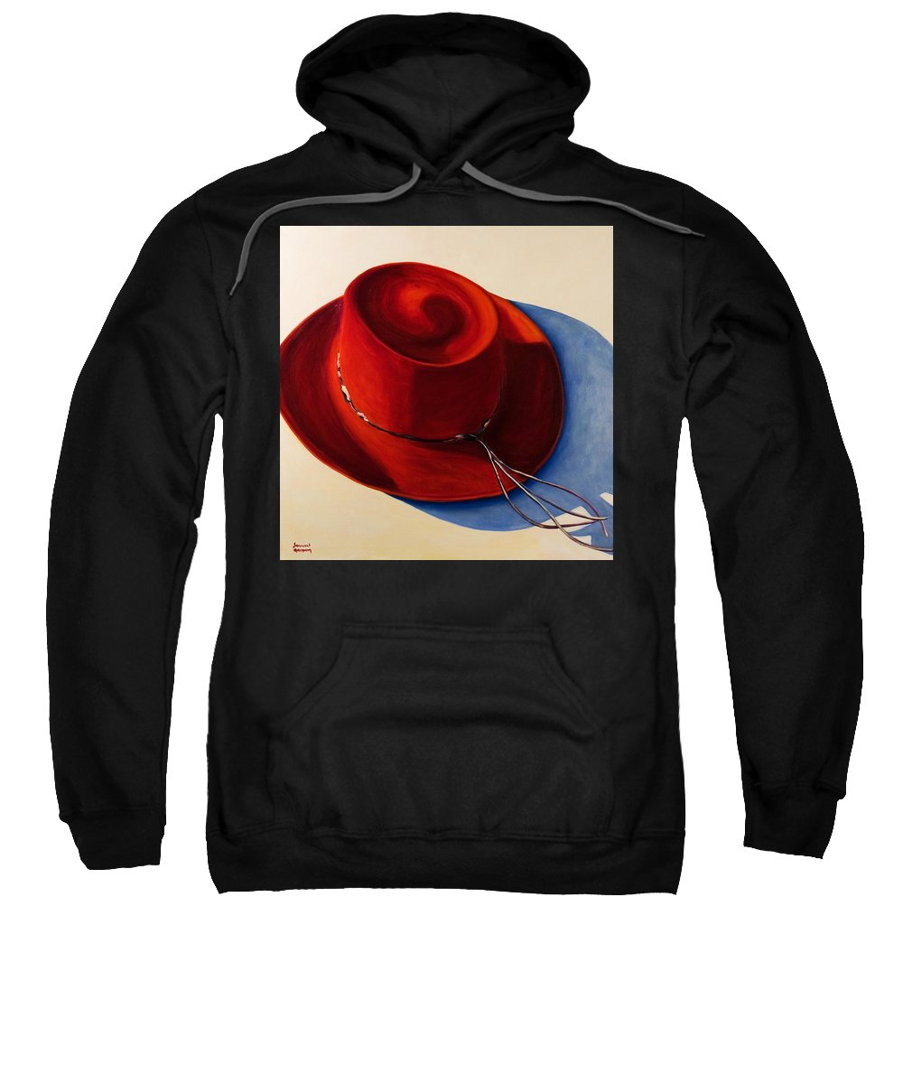 Red Hat Sweatshirt featuring the painting Red Hat by Shannon Grissom