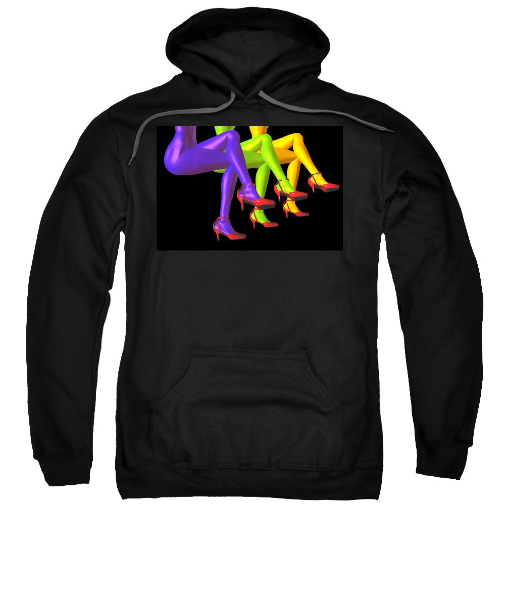 Color Sweatshirt featuring the digital art Red High-heeled Shoes by Carol and Mike Werner