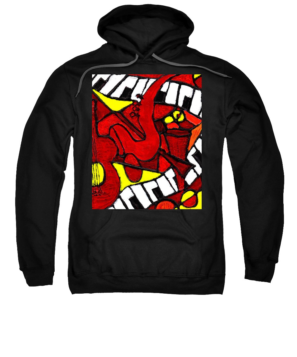 Jazz Sweatshirt featuring the painting Red Hot Jazz by Wayne Potrafka