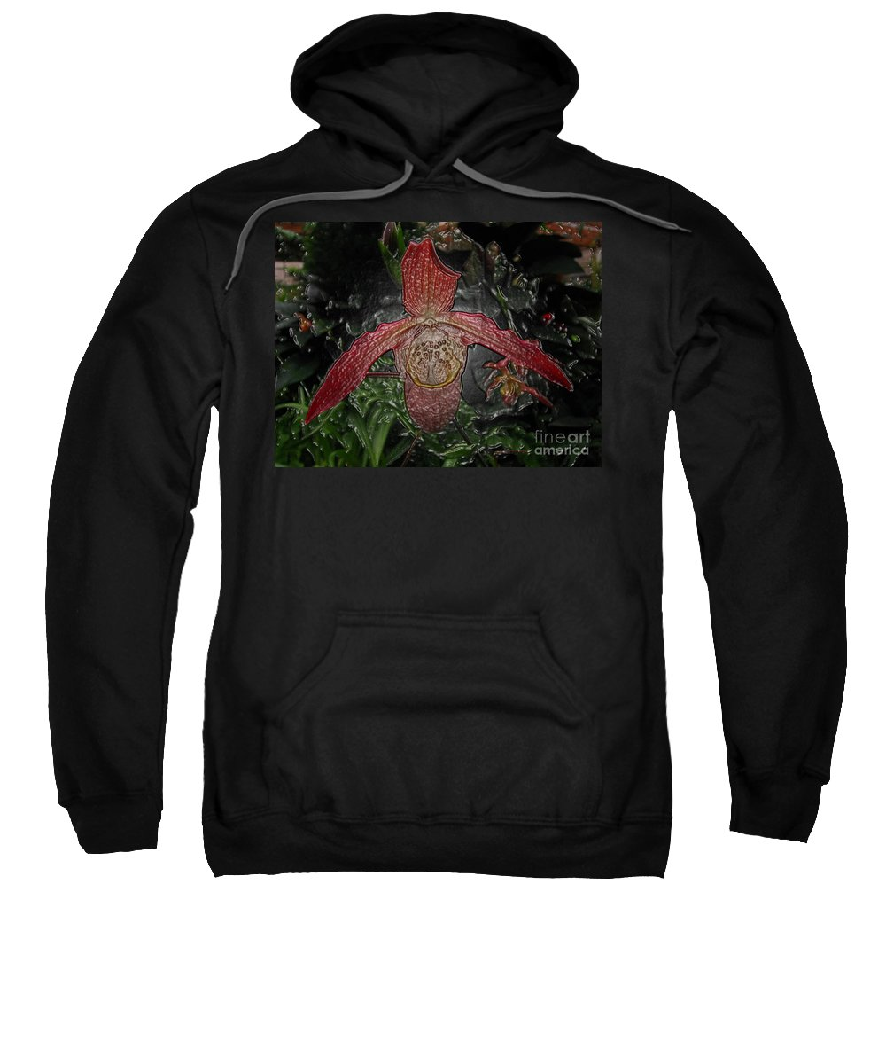 Orchid Sweatshirt featuring the digital art Red Lady Slipper by Donna Brown