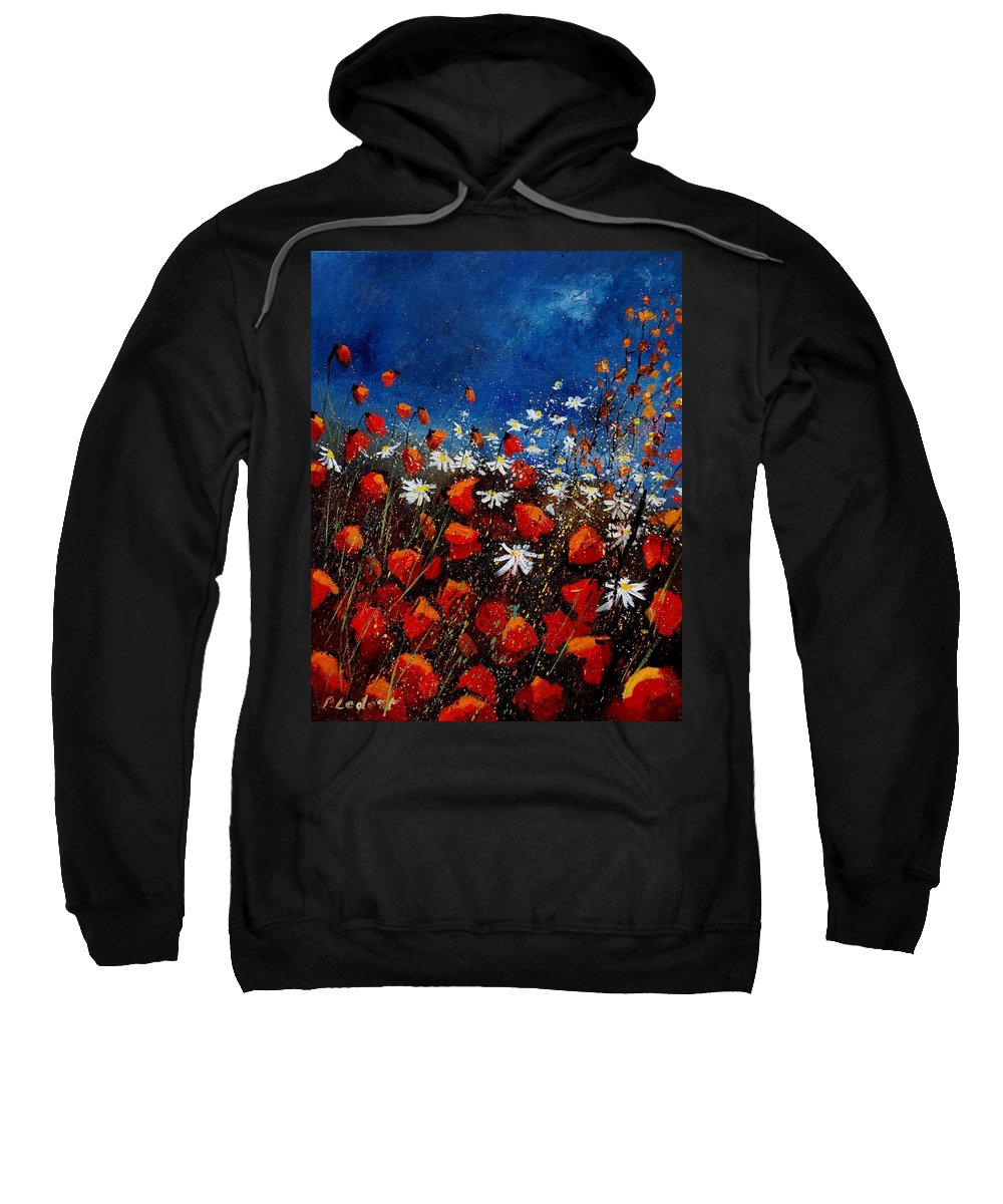 Flowers Sweatshirt featuring the painting Red Poppies 451108 by Pol Ledent