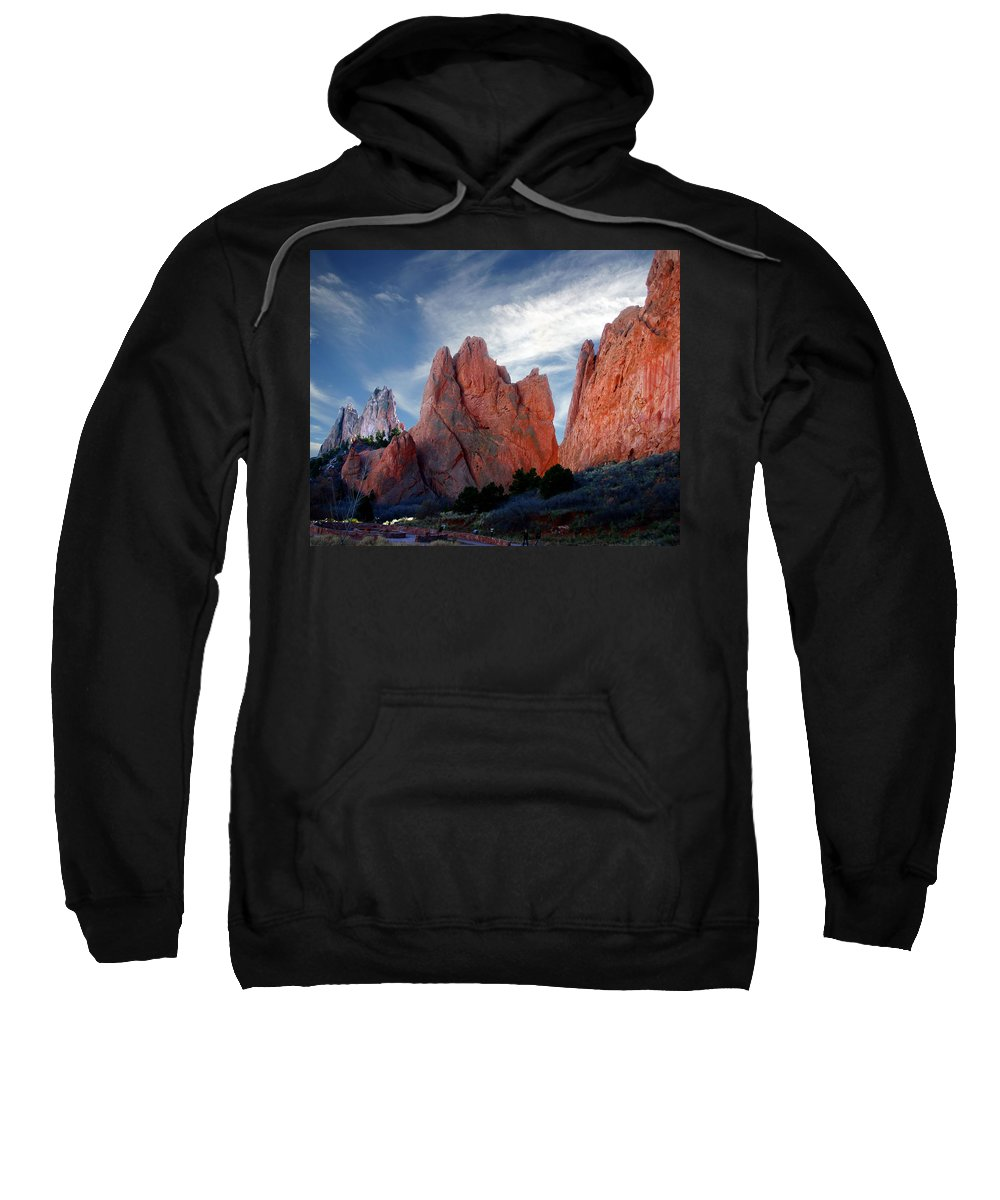 Garden Of The Gods Sweatshirt featuring the photograph Red Rock by Anthony Jones