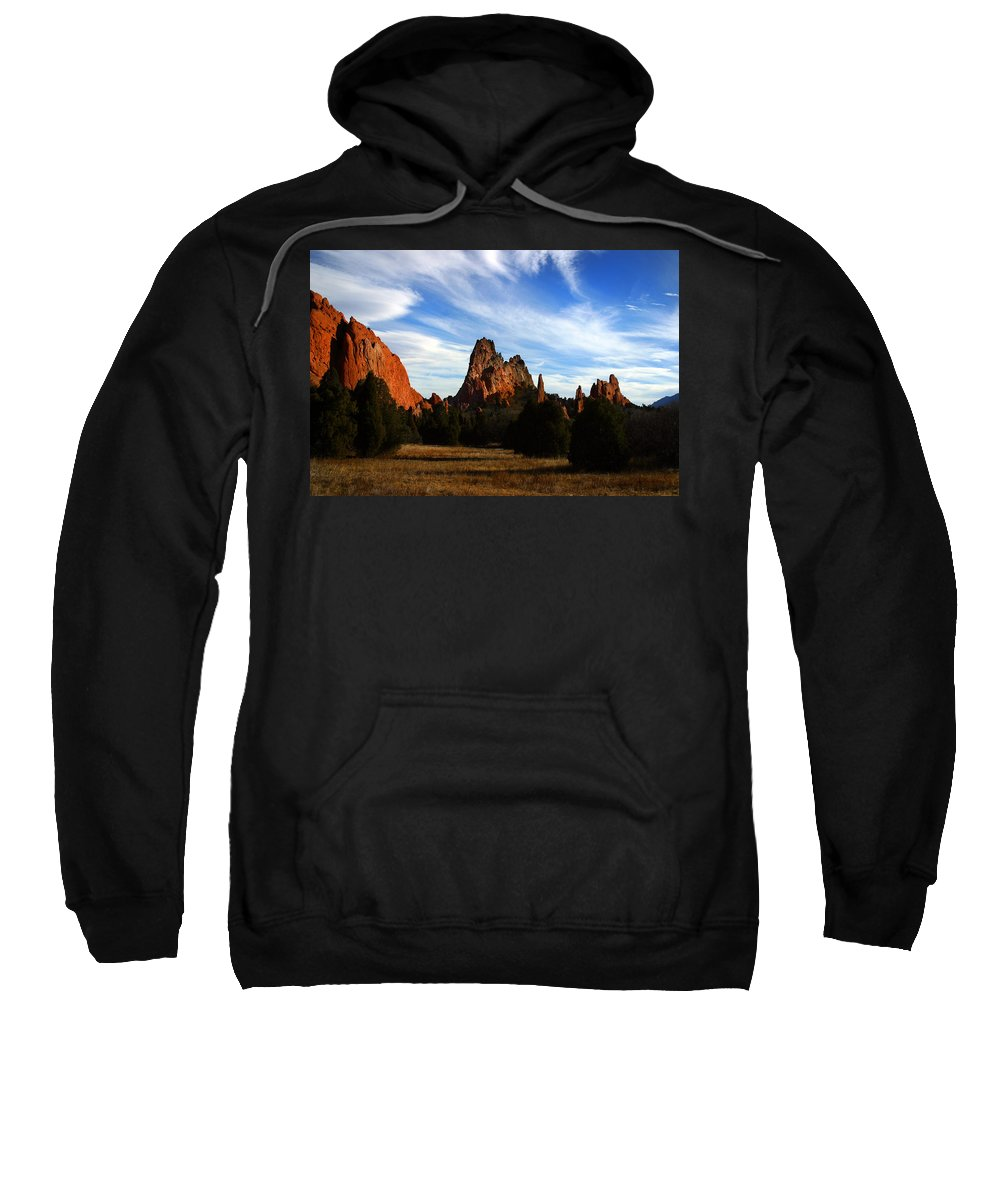 Garden Of The Gods Sweatshirt featuring the photograph Red Rock Formations by Anthony Jones