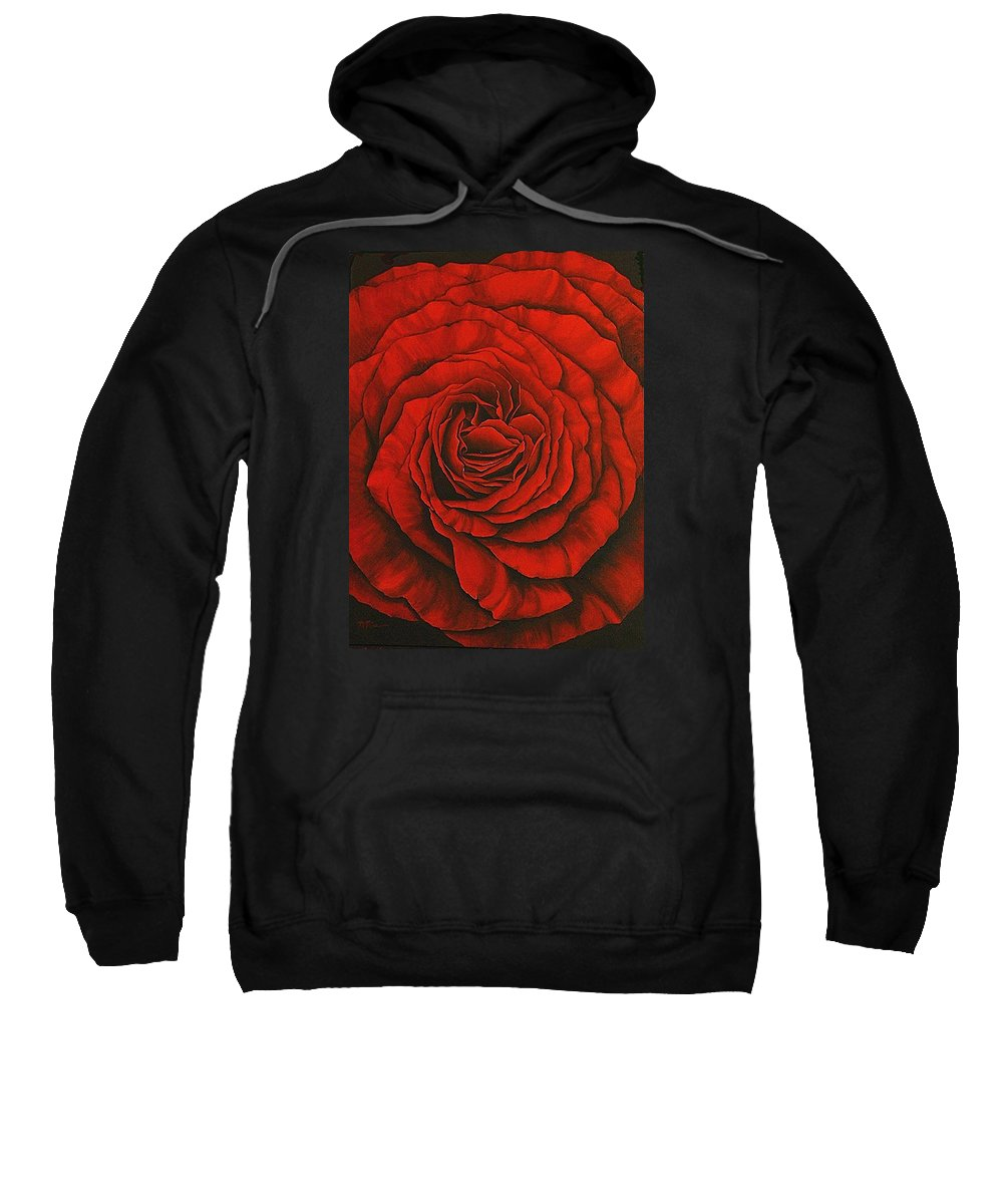 Red Sweatshirt featuring the painting Red Rose II by Rowena Finn