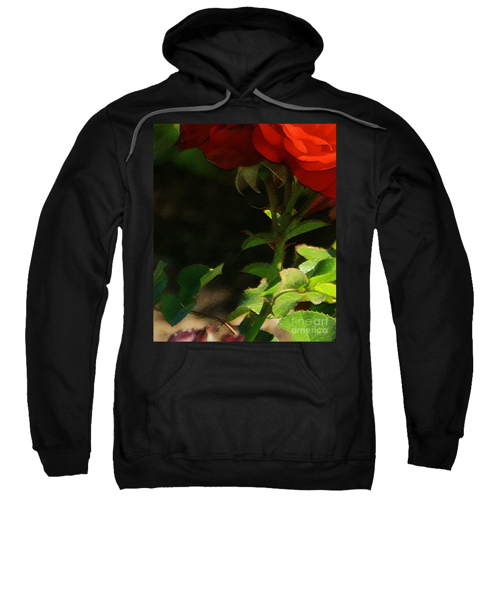 Rose Sweatshirt featuring the photograph Red Rose by Linda Shafer