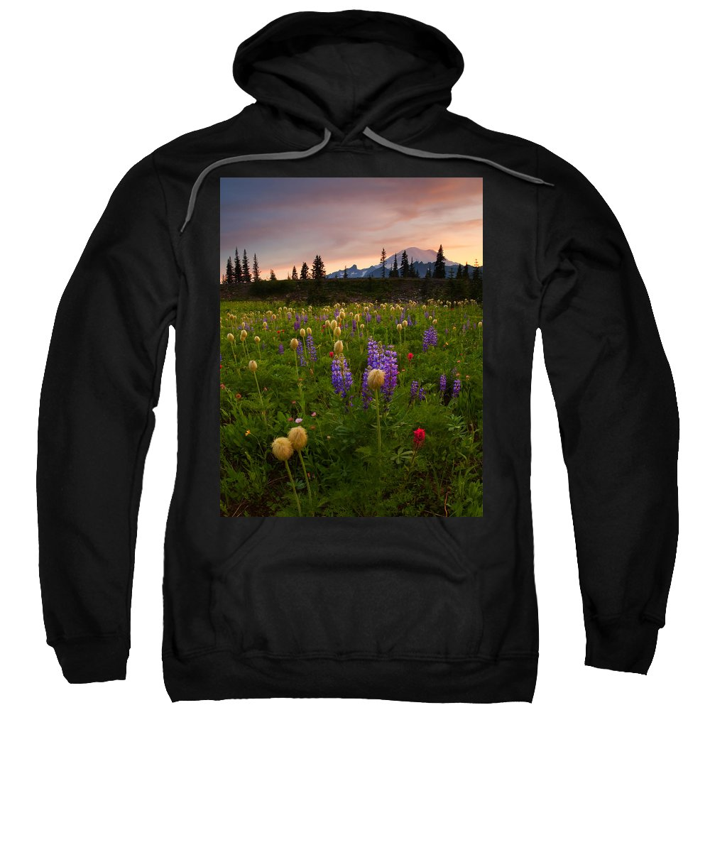 Anenome Sweatshirt featuring the photograph Red Sky Meadow by Mike Dawson