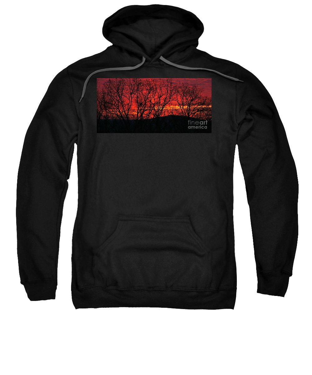 Sunrise Sweatshirt featuring the photograph Red Sunrise Over The Ozarks by Nadine Rippelmeyer
