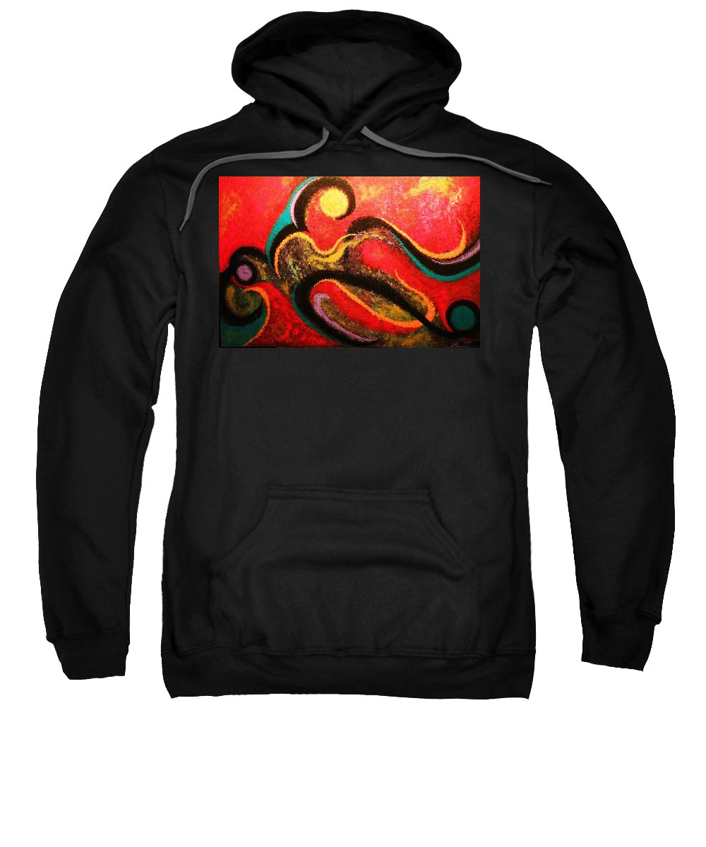Red Sweatshirt featuring the painting Red Tide by Todd Hoover