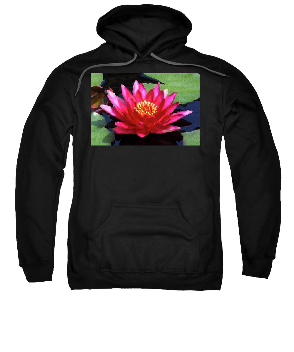 Floral Sweatshirt featuring the photograph Red Water Lily - Palette Knife by Lou Ford