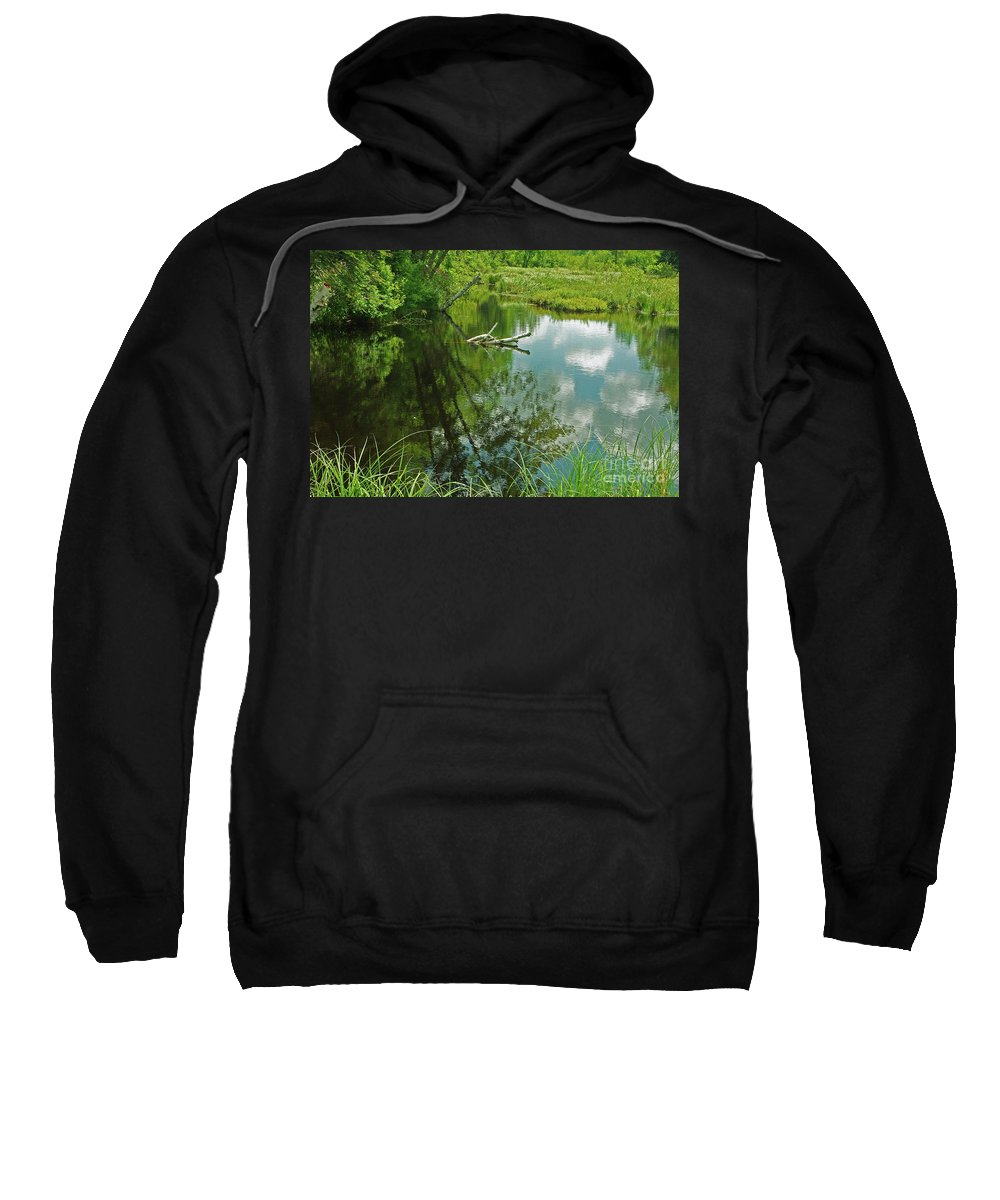 Reflection Sweatshirt featuring the photograph Reflection Of A Tree And Clouds by Alice Markham