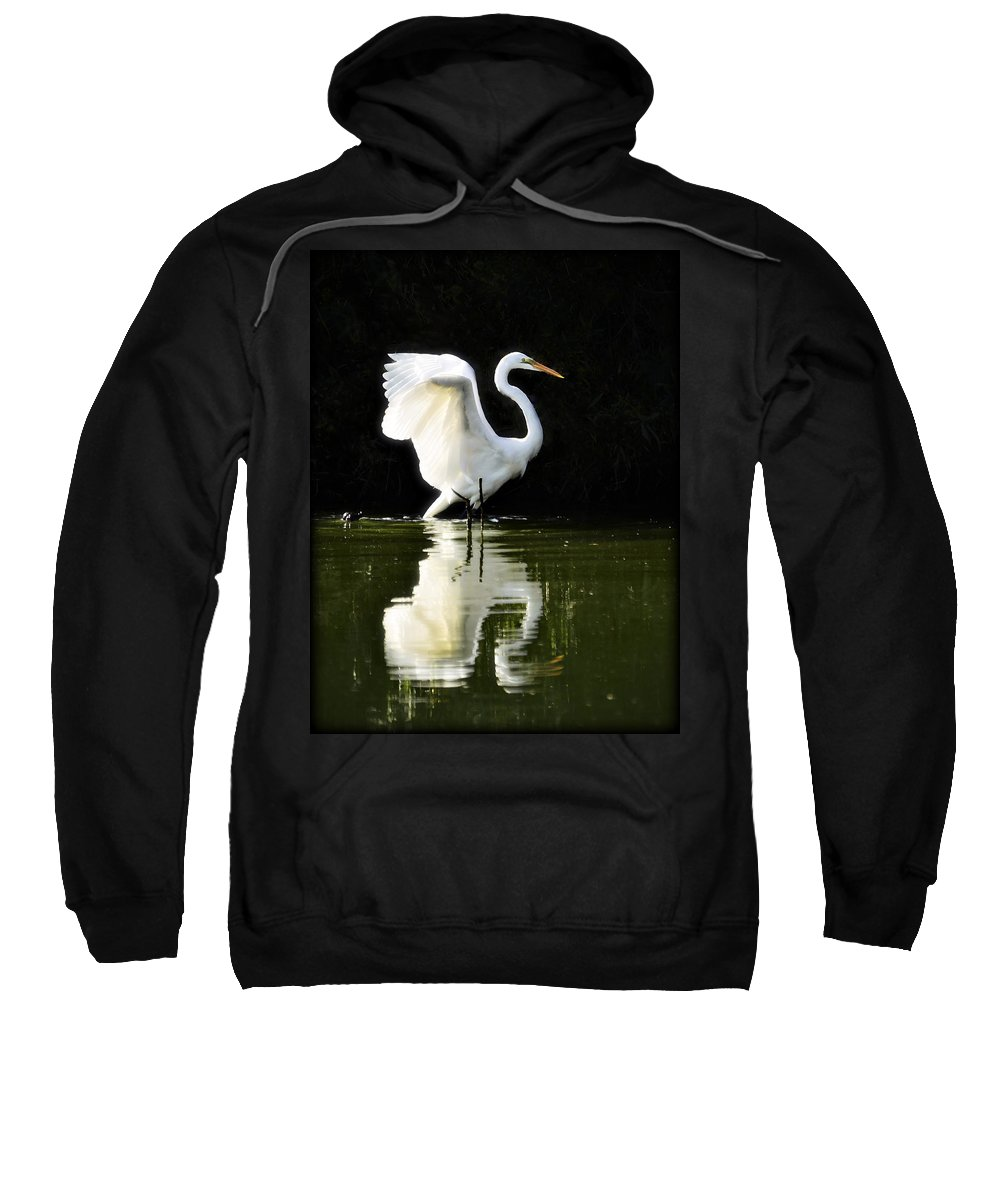 Great White Egret Sweatshirt featuring the photograph Reflections Of An Angel by Saija Lehtonen