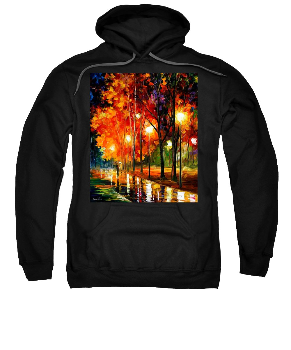 Afremov Sweatshirt featuring the painting Reflections Of The Night by Leonid Afremov