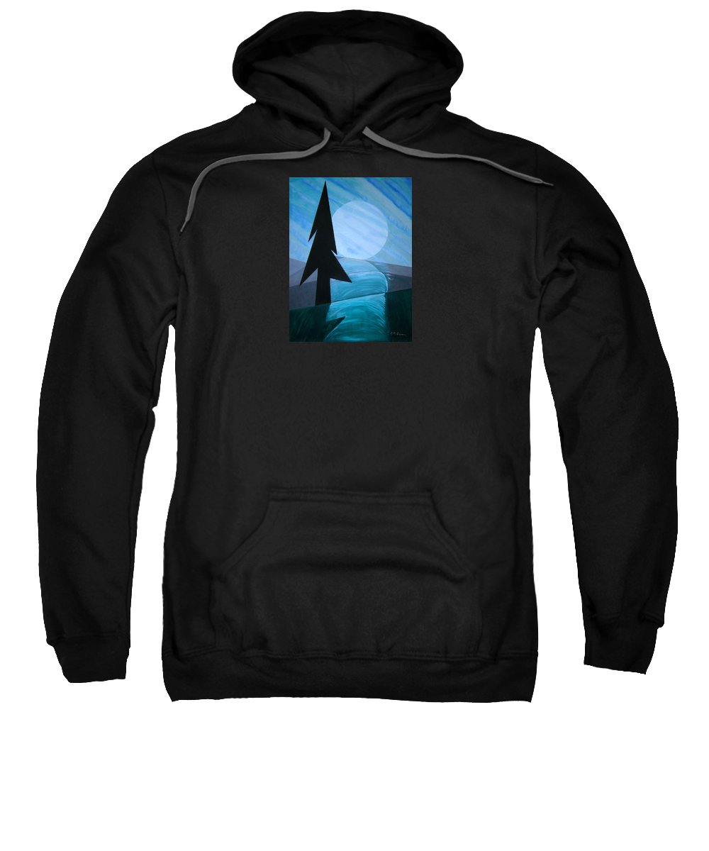 Phases Of The Moon Sweatshirt featuring the painting Reflections On The Day by J R Seymour