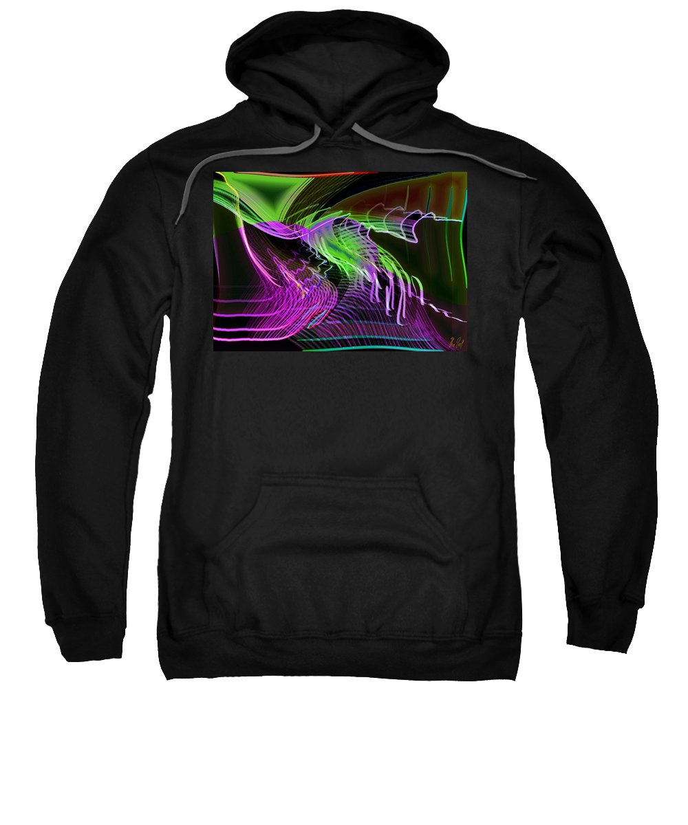 Drawing Sweatshirt featuring the digital art Reflexions Green by Helmut Rottler