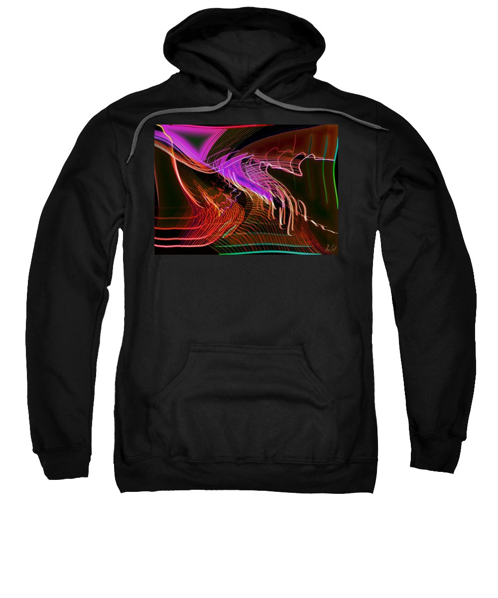 Drawing Sweatshirt featuring the digital art Reflexions Red by Helmut Rottler