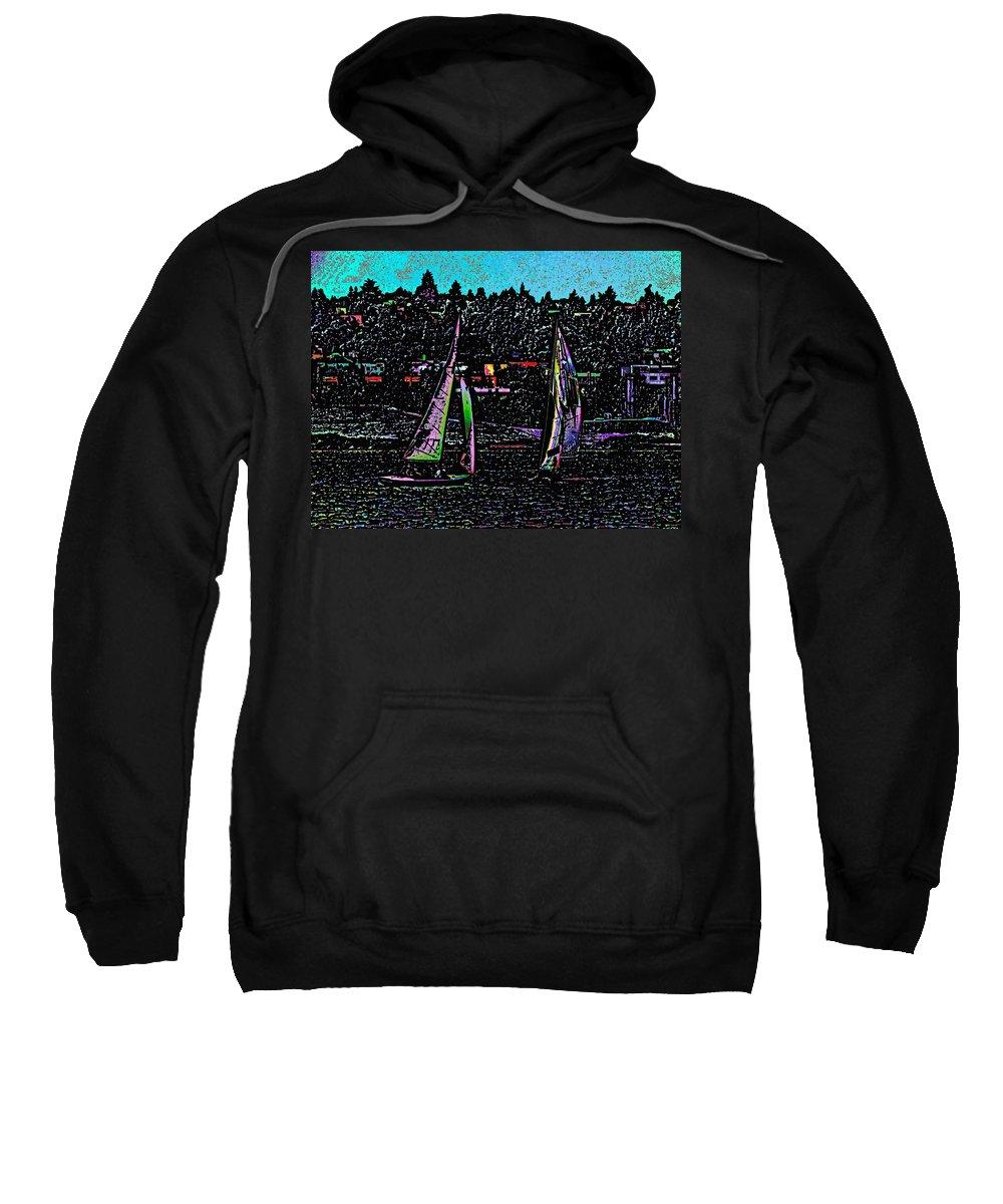 Sail Sweatshirt featuring the digital art Regatta 2 by Tim Allen
