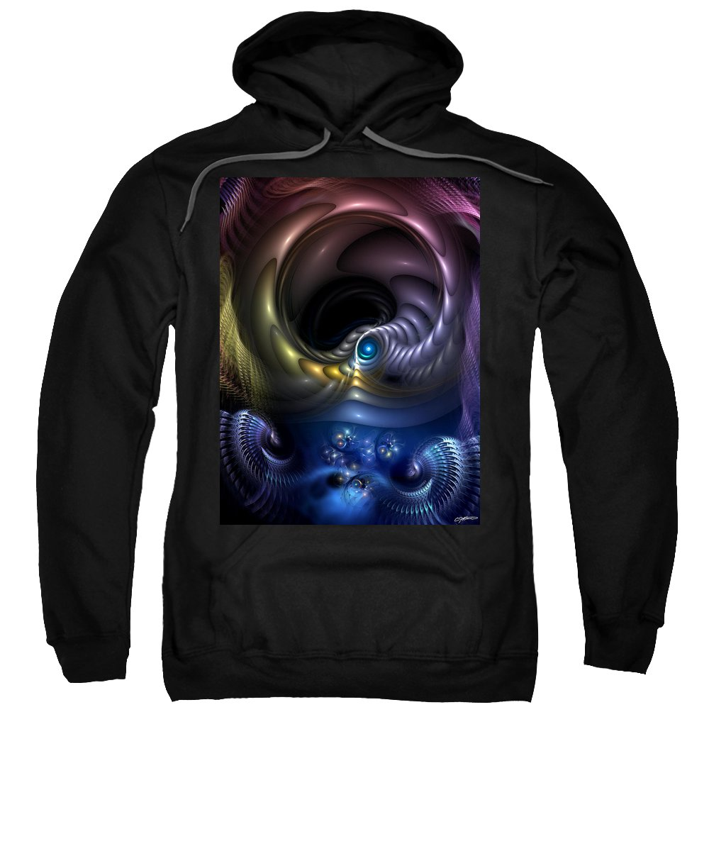 Abstract Sweatshirt featuring the digital art Reincarnation - The Quandary by Casey Kotas