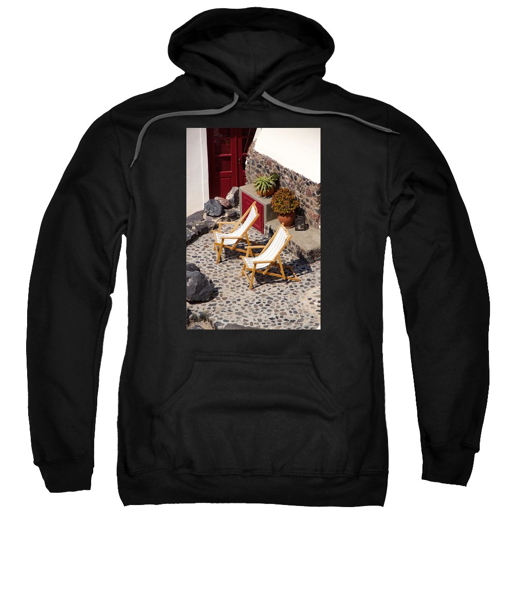 Terrace Sweatshirt featuring the photograph Relax Santorini by Ron Koivisto