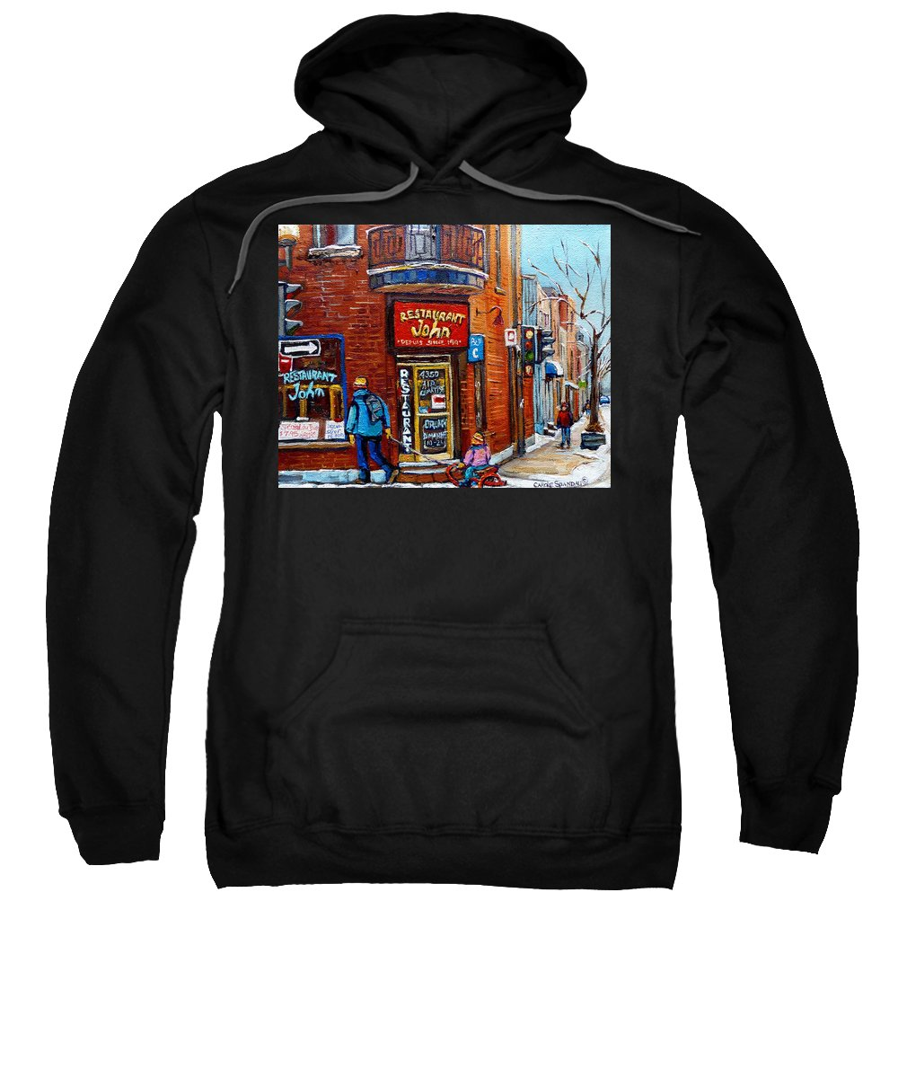 Restaurant John Montreal Sweatshirt featuring the painting Restaurant John Montreal by Carole Spandau