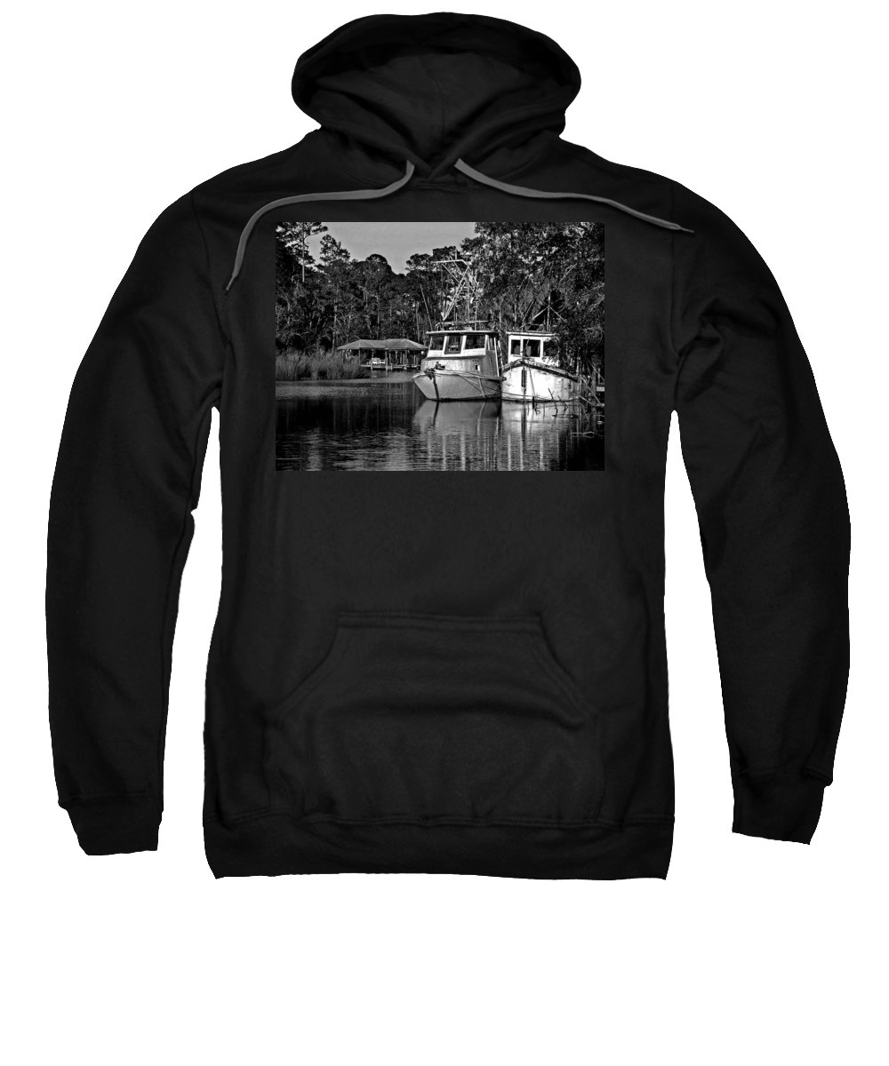 Shrimp Boat Sweatshirt featuring the painting Resting Shrimp Boats by Michael Thomas