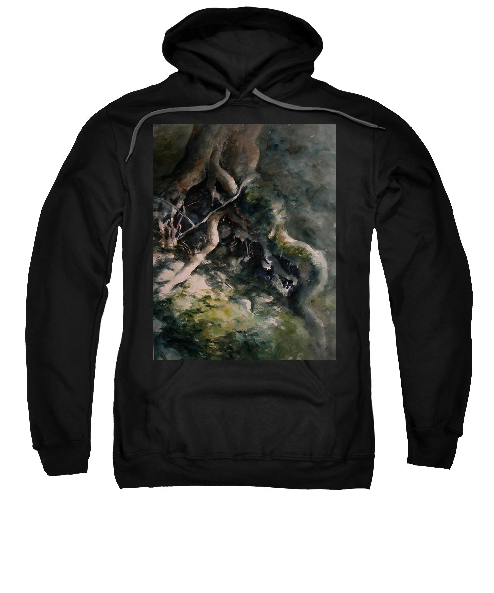 Nature Sweatshirt featuring the painting Revealed by Rachel Christine Nowicki