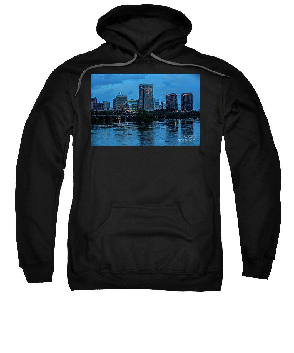 Richmond Skyline Sweatshirt featuring the photograph Richmond Skyline At Nightfall 11908t by Doug Berry