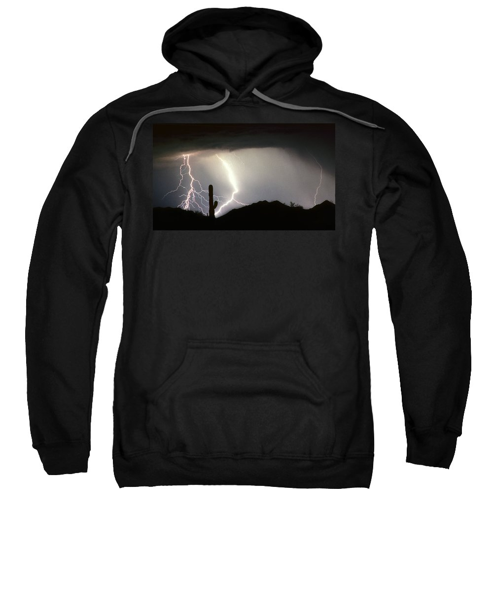 Lightning Sweatshirt featuring the photograph Ridin The Southwest Desert Storm Out by James BO Insogna