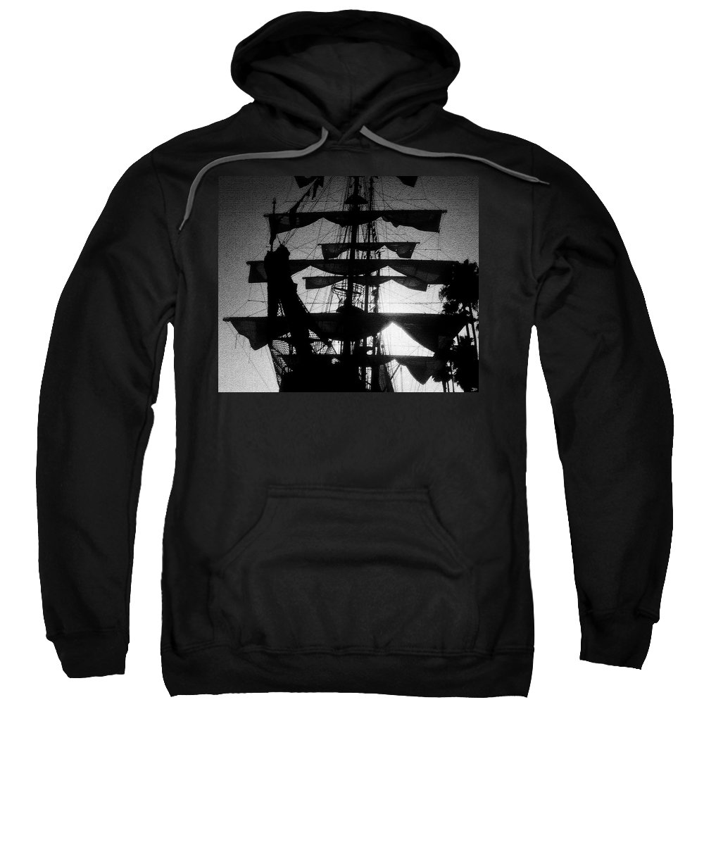 Sailing Ship Sweatshirt featuring the painting Rigging And Sail by David Lee Thompson