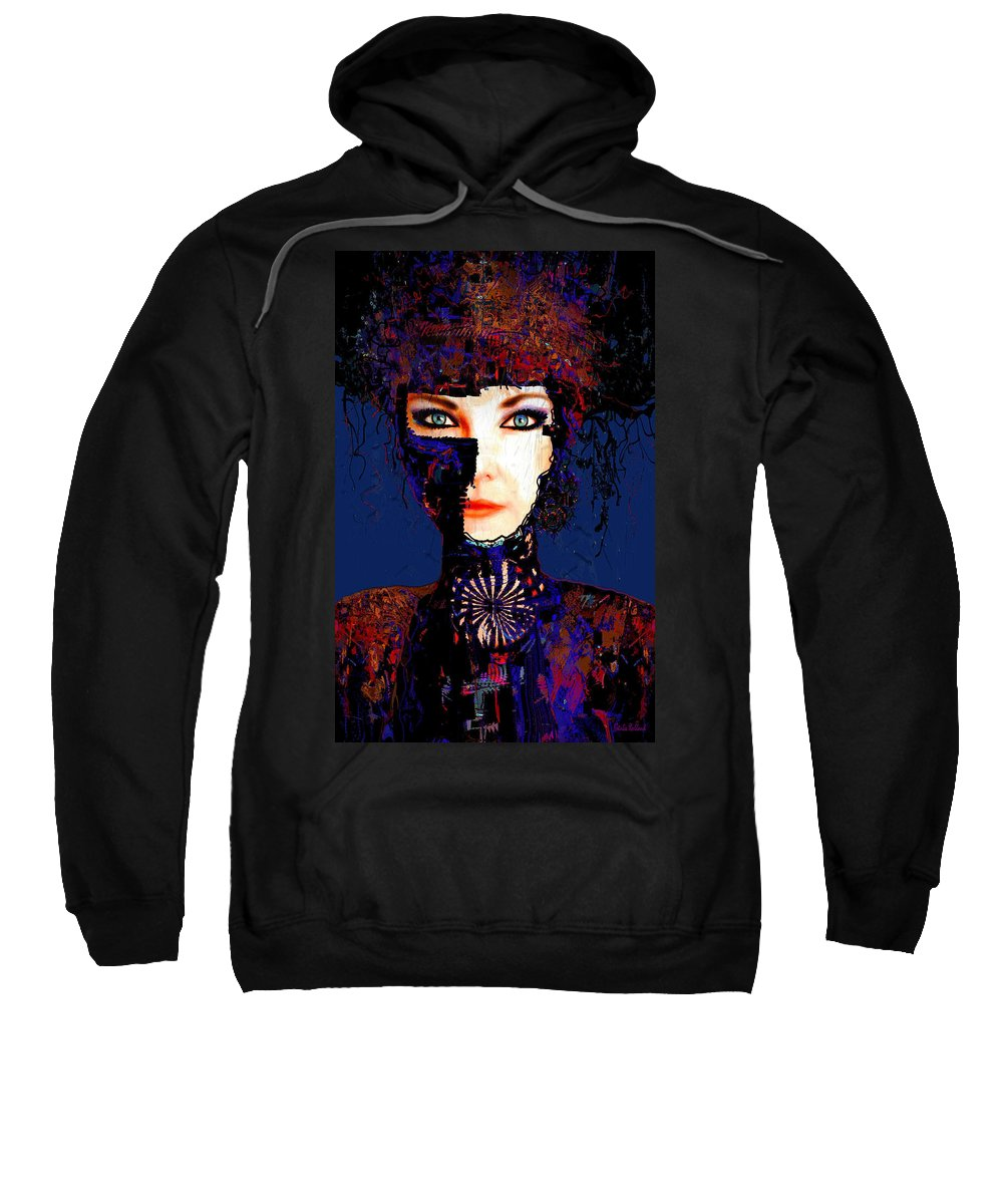 Face Sweatshirt featuring the mixed media Rina by Natalie Holland