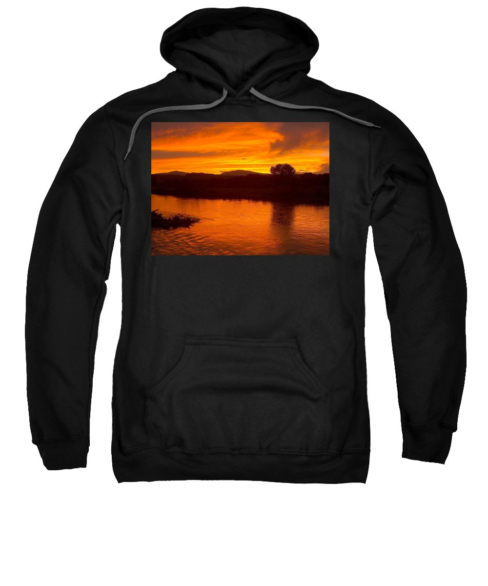 Sunset Sweatshirt featuring the photograph Rio Grande Sunset by Tim McCarthy