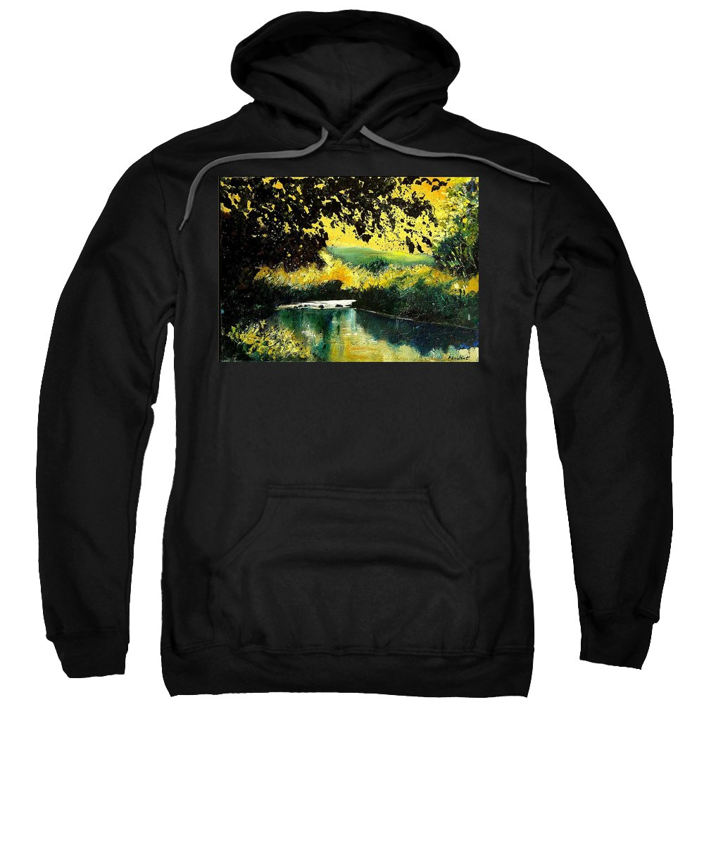 River Sweatshirt featuring the painting River Houille by Pol Ledent
