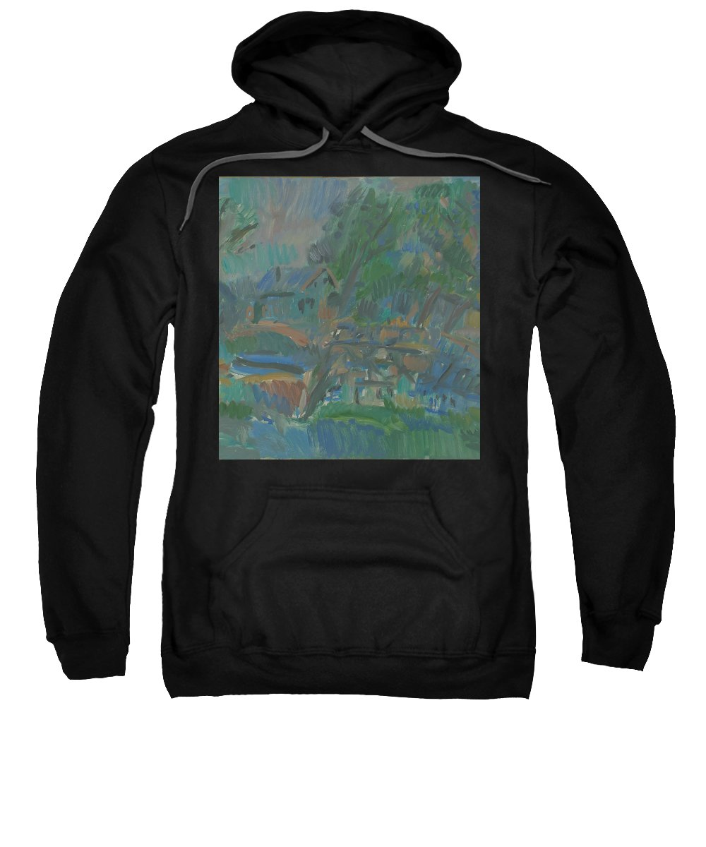 River Sweatshirt featuring the painting Village by Robert Nizamov