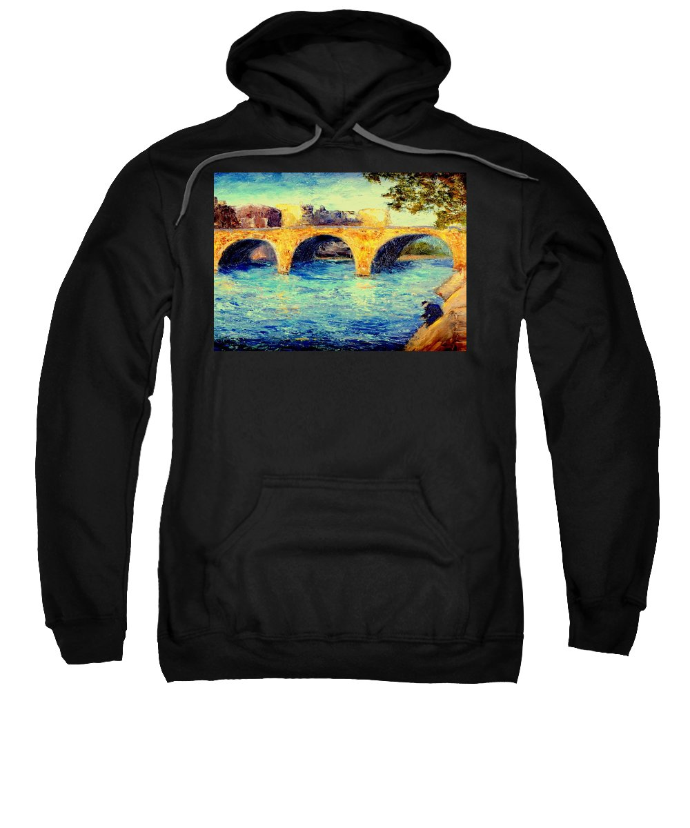 Impressionism Sweatshirt featuring the painting River Seine Bridge by Gail Kirtz